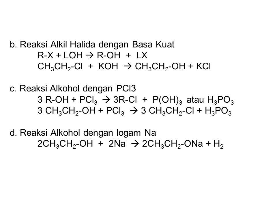 b. Reaksi Alkil Halida dengan Basa Kuat