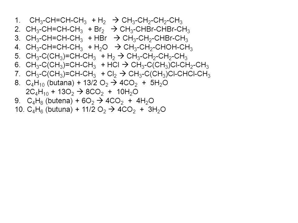 CH3-CH=CH-CH3 + H2  CH3-CH2-CH2-CH3