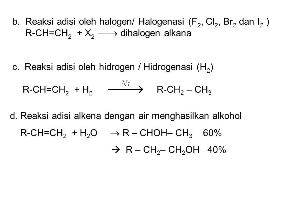 b. Reaksi adisi oleh halogen/ Halogenasi (F2, Cl2, Br2 dan I2 )
