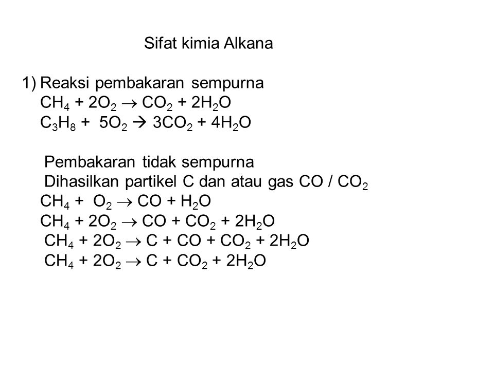 Sifat kimia Alkana Reaksi pembakaran sempurna. CH4 + 2O2  CO2 + 2H2O. C3H8 + 5O2  3CO2 + 4H2O.