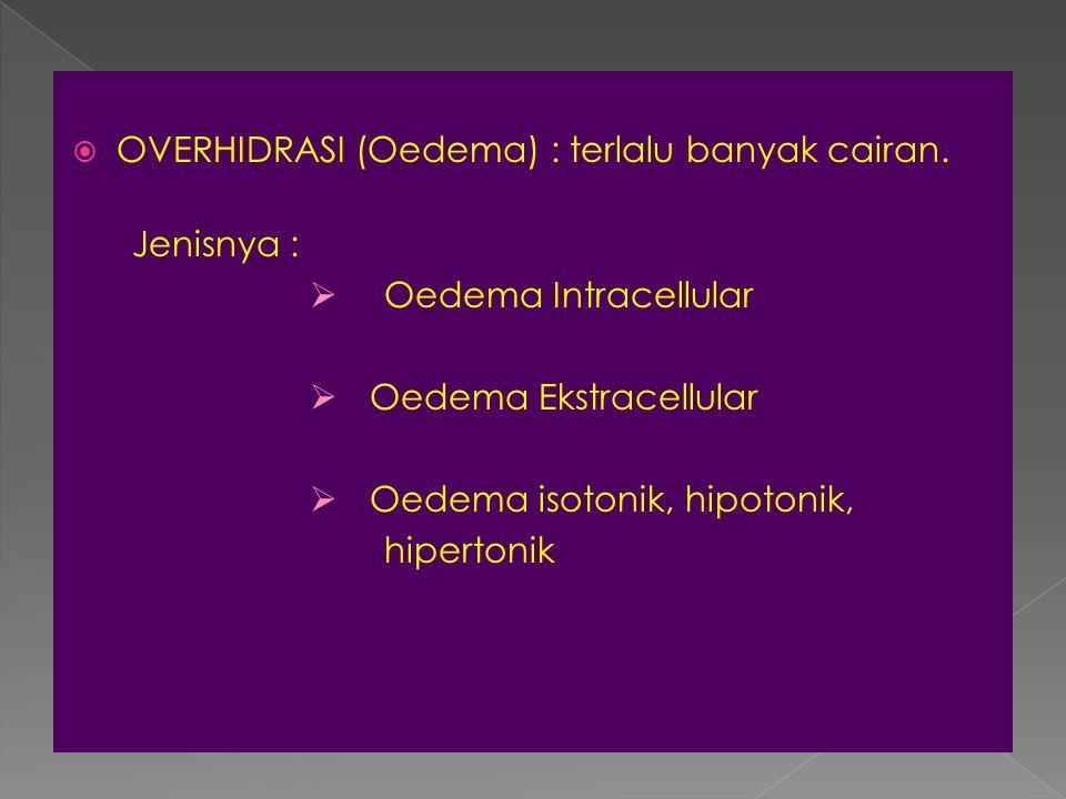 OVERHIDRASI (Oedema) : terlalu banyak cairan.