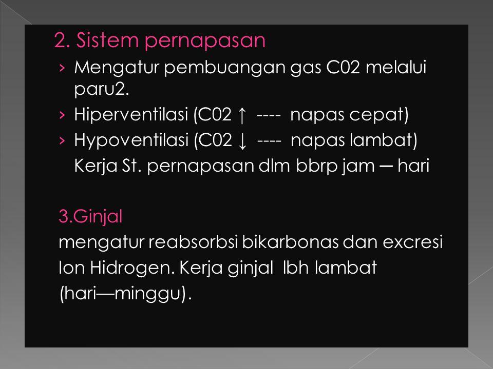 2. Sistem pernapasan Mengatur pembuangan gas C02 melalui paru2.