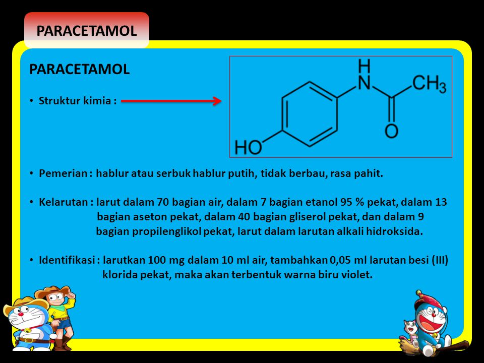 PARACETAMOL PARACETAMOL Struktur kimia :