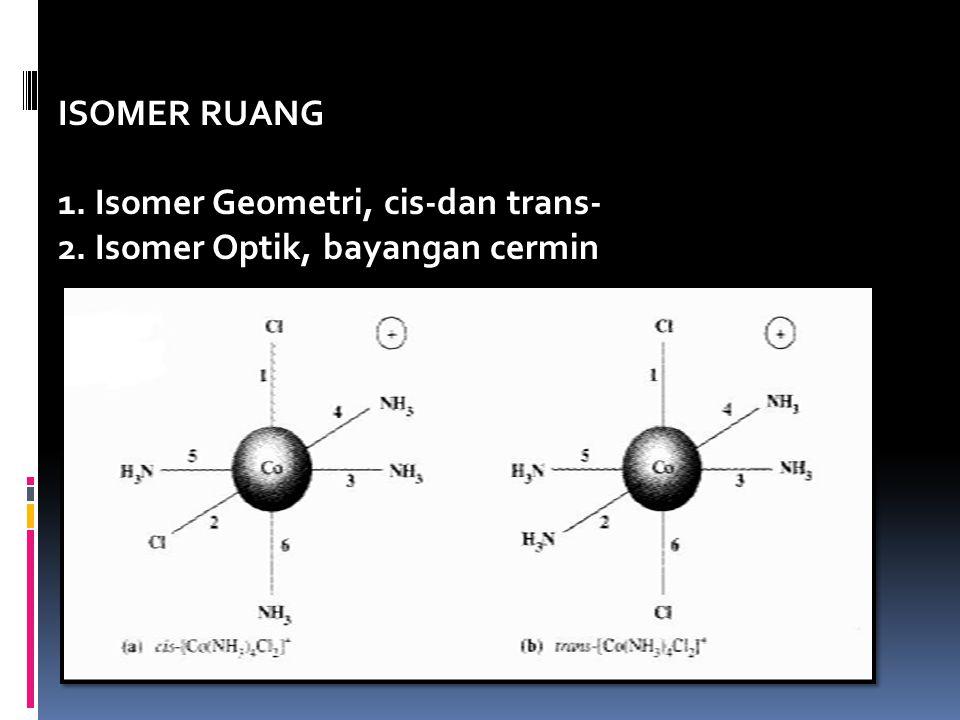 ISOMER RUANG 1. Isomer Geometri, cis-dan trans- 2. Isomer Optik, bayangan cermin