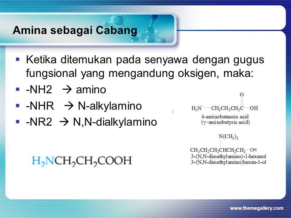 Amina sebagai Cabang Ketika ditemukan pada senyawa dengan gugus fungsional yang mengandung oksigen, maka: