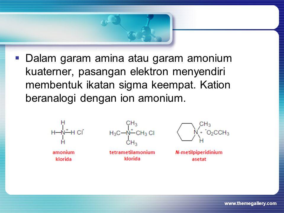 Dalam garam amina atau garam amonium kuaterner, pasangan elektron menyendiri membentuk ikatan sigma keempat. Kation beranalogi dengan ion amonium.