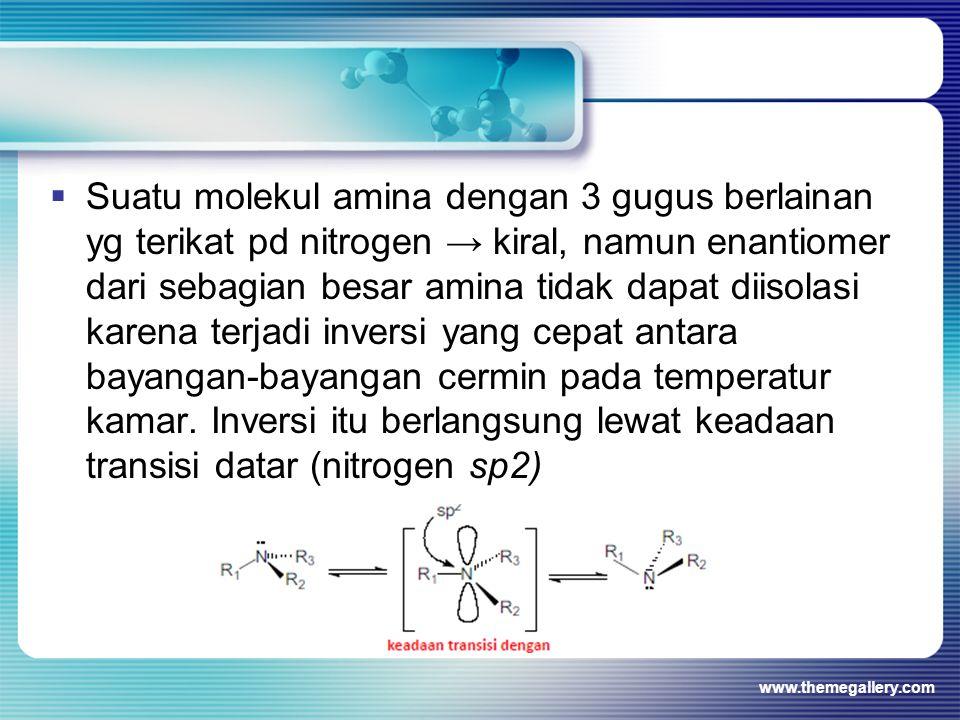 Suatu molekul amina dengan 3 gugus berlainan yg terikat pd nitrogen → kiral, namun enantiomer dari sebagian besar amina tidak dapat diisolasi karena terjadi inversi yang cepat antara bayangan-bayangan cermin pada temperatur kamar. Inversi itu berlangsung lewat keadaan transisi datar (nitrogen sp2)