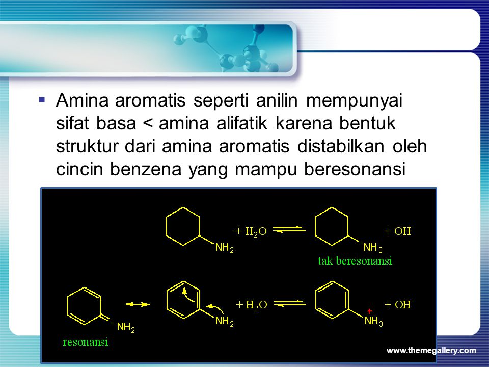 Amina aromatis seperti anilin mempunyai sifat basa < amina alifatik karena bentuk struktur dari amina aromatis distabilkan oleh cincin benzena yang mampu beresonansi