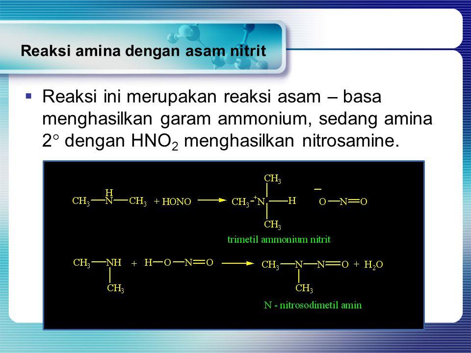 Reaksi amina dengan asam nitrit