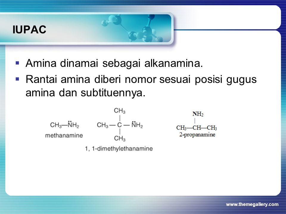 Amina dinamai sebagai alkanamina.