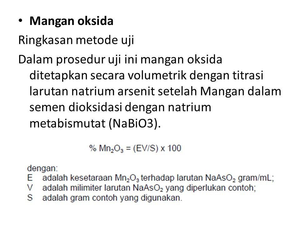 Mangan oksida Ringkasan metode uji.