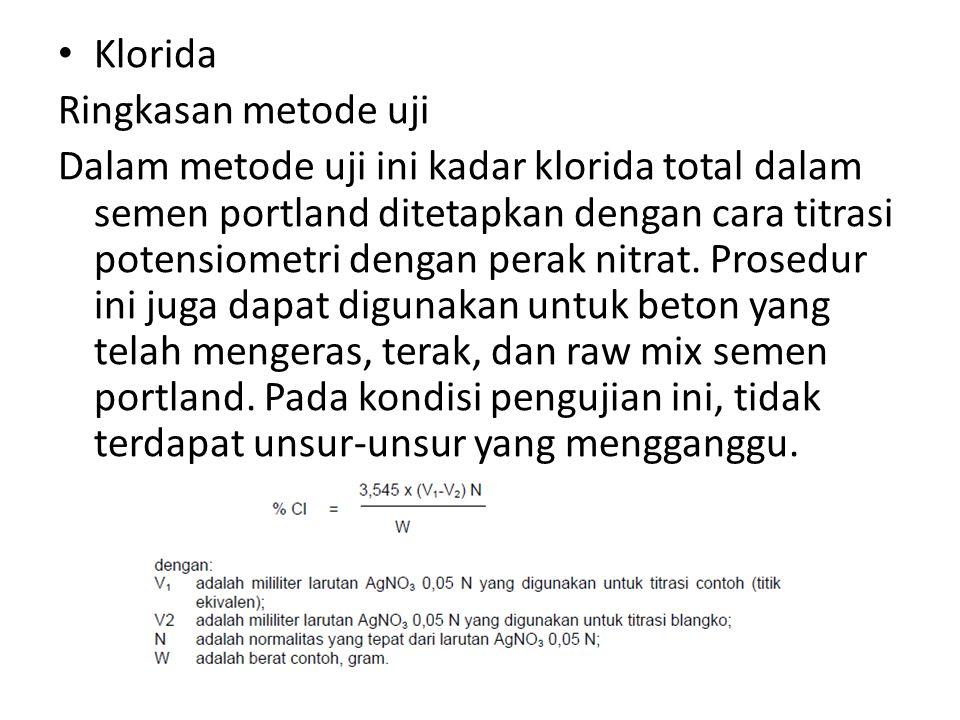 Klorida Ringkasan metode uji.