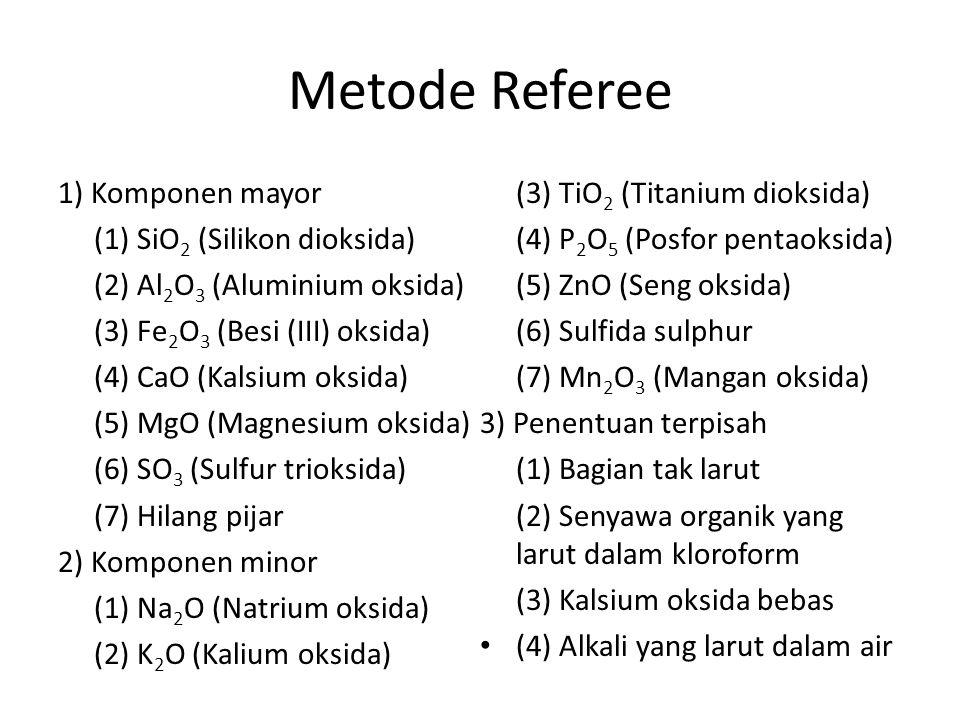Metode Referee 1) Komponen mayor (3) TiO2 (Titanium dioksida)