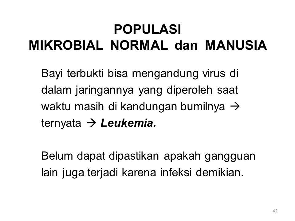 POPULASI MIKROBIAL NORMAL dan MANUSIA