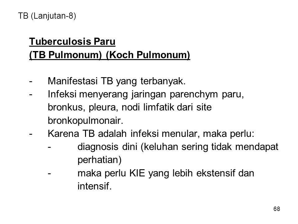 (TB Pulmonum) (Koch Pulmonum) - Manifestasi TB yang terbanyak.