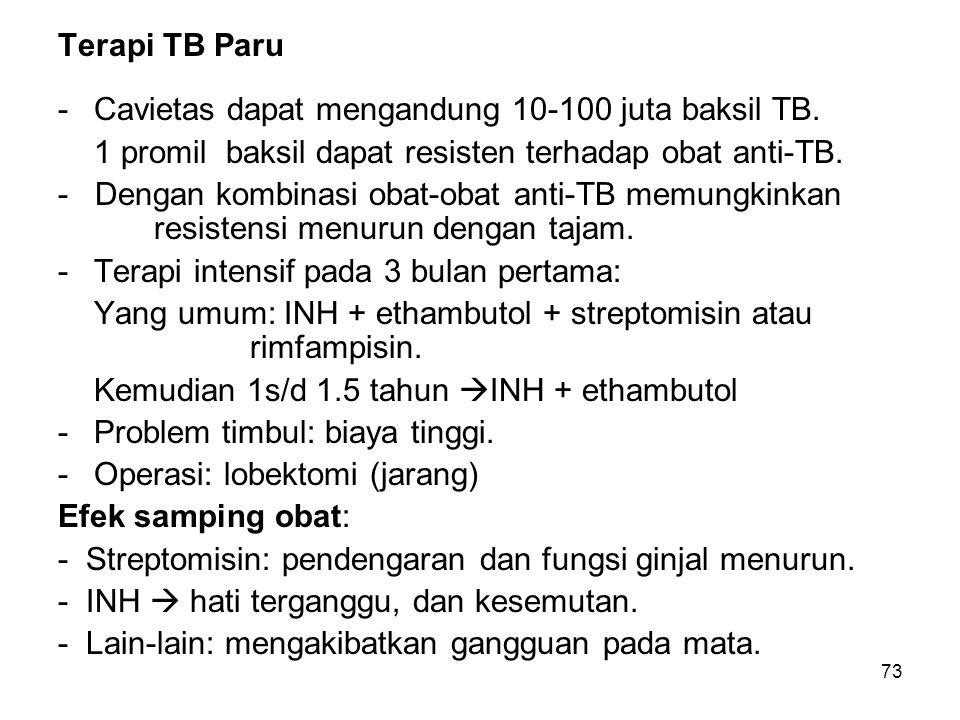 Terapi TB Paru Cavietas dapat mengandung 10-100 juta baksil TB. 1 promil baksil dapat resisten terhadap obat anti-TB.