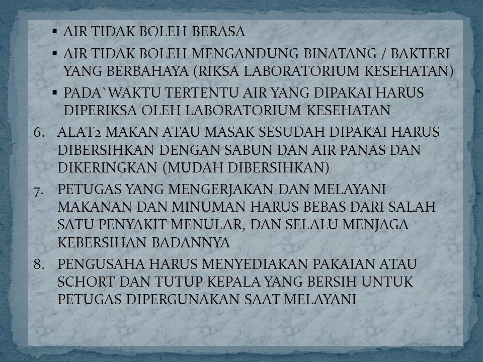 AIR TIDAK BOLEH BERASA AIR TIDAK BOLEH MENGANDUNG BINATANG / BAKTERI YANG BERBAHAYA (RIKSA LABORATORIUM KESEHATAN)