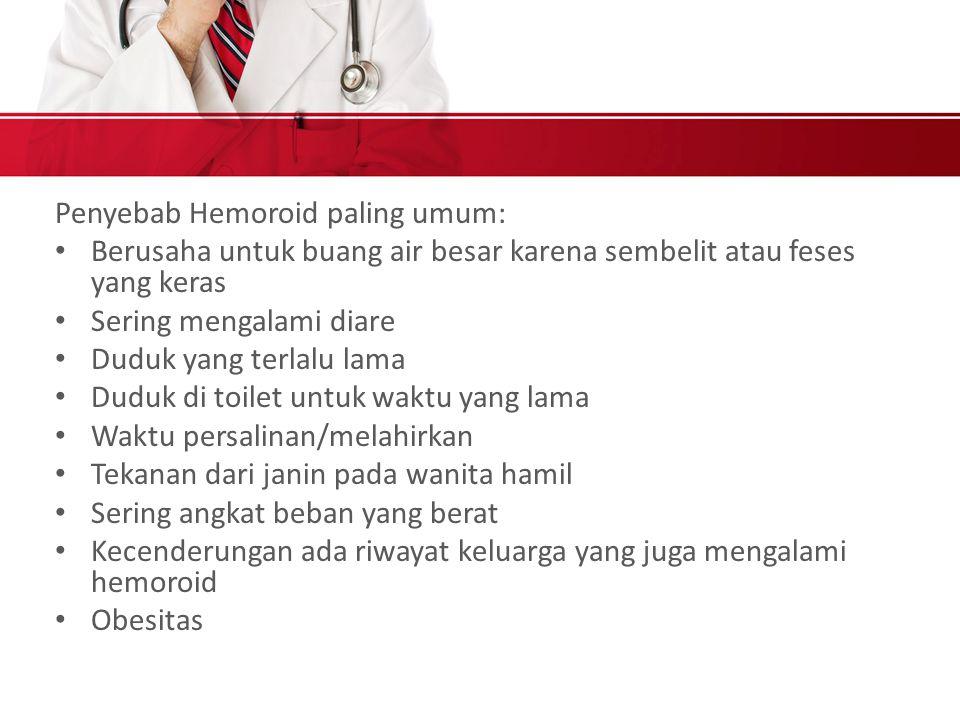 Penyebab Hemoroid paling umum: