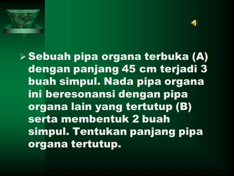 Sebuah pipa organa terbuka (A) dengan panjang 45 cm terjadi 3 buah simpul.