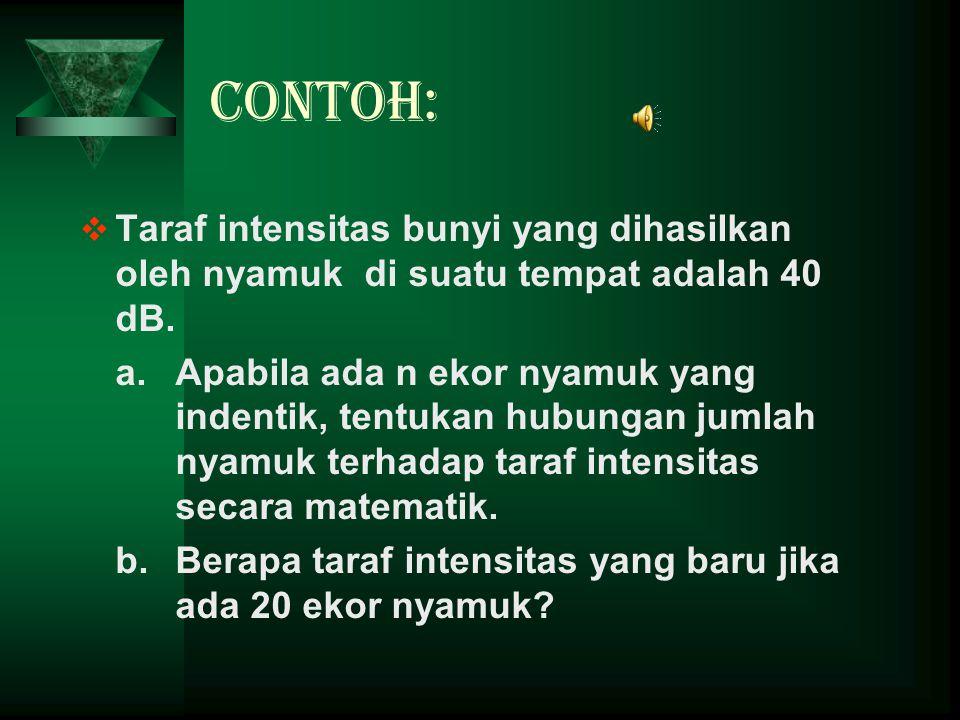 Contoh: Taraf intensitas bunyi yang dihasilkan oleh nyamuk di suatu tempat adalah 40 dB.