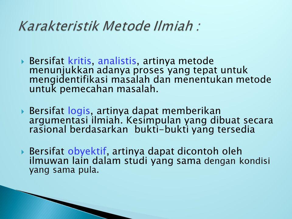 Karakteristik Metode Ilmiah :