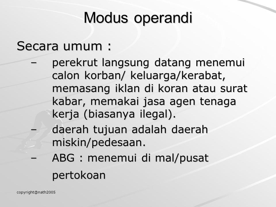 Modus operandi Secara umum :