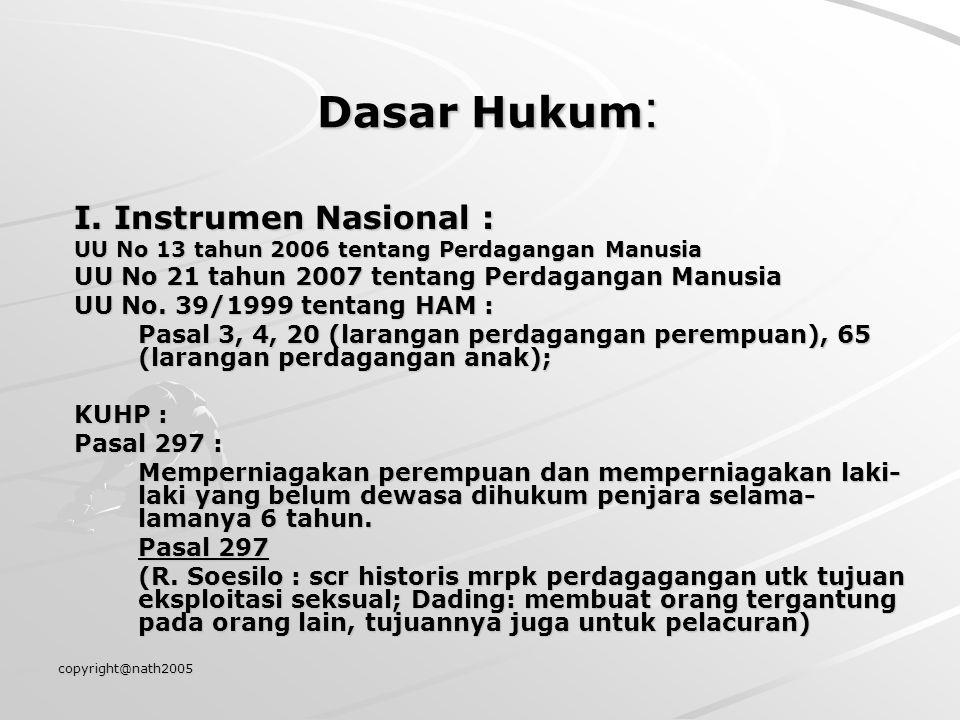 Dasar Hukum: I. Instrumen Nasional :
