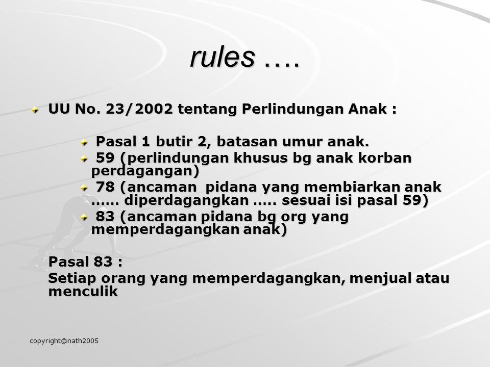 rules …. UU No. 23/2002 tentang Perlindungan Anak :