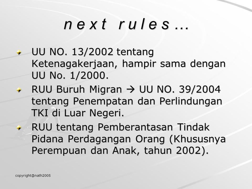 n e x t r u l e s … UU NO. 13/2002 tentang Ketenagakerjaan, hampir sama dengan UU No. 1/2000.
