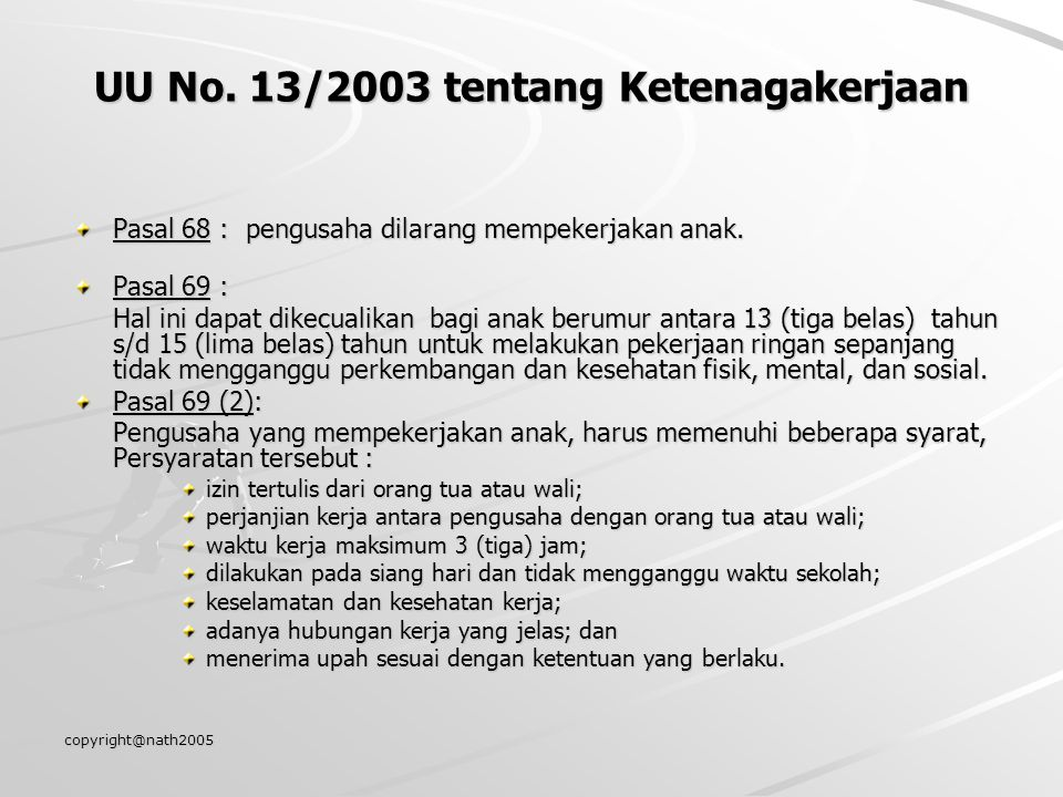 UU No. 13/2003 tentang Ketenagakerjaan