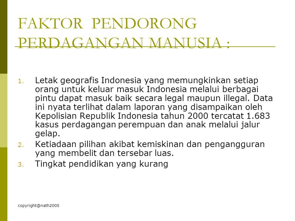 FAKTOR PENDORONG PERDAGANGAN MANUSIA :