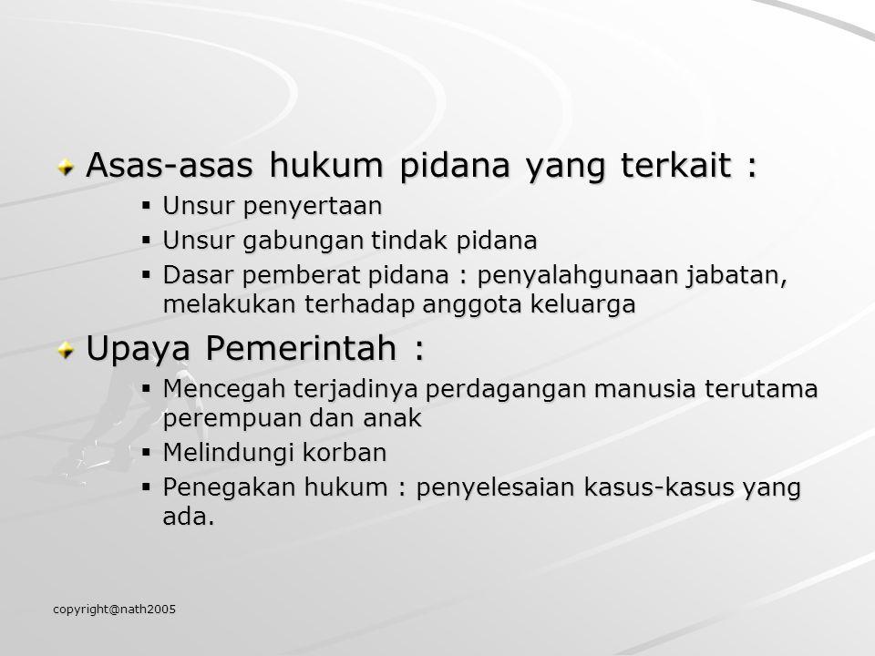 Asas-asas hukum pidana yang terkait :
