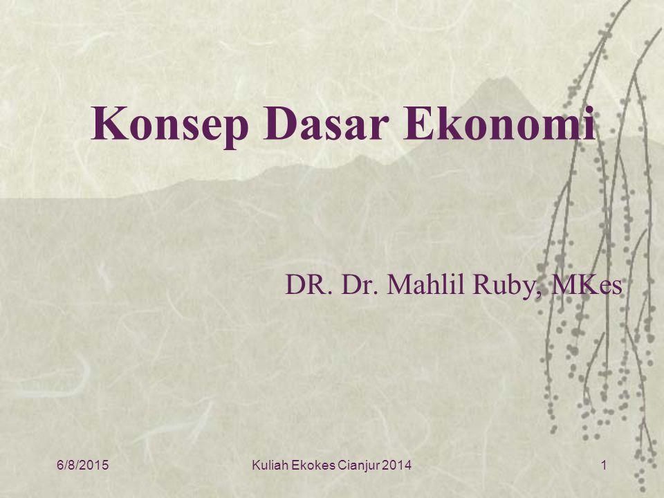 Konsep Dasar Ekonomi DR. Dr. Mahlil Ruby, MKes 4/16/2017