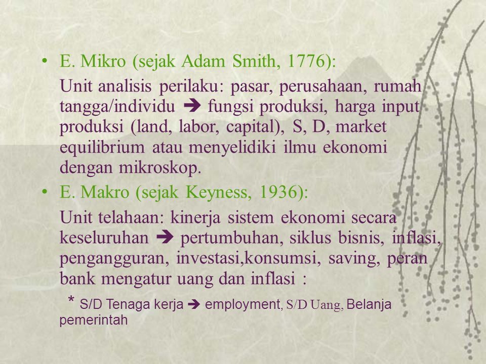 E. Mikro (sejak Adam Smith, 1776):
