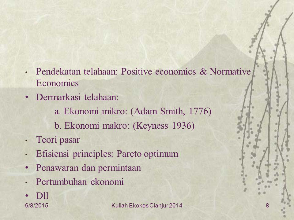 Pendekatan telahaan: Positive economics & Normative Economics