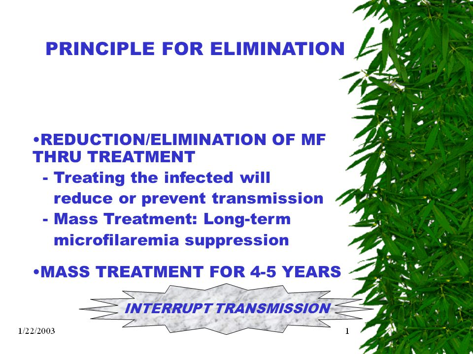 PRINCIPLE FOR ELIMINATION