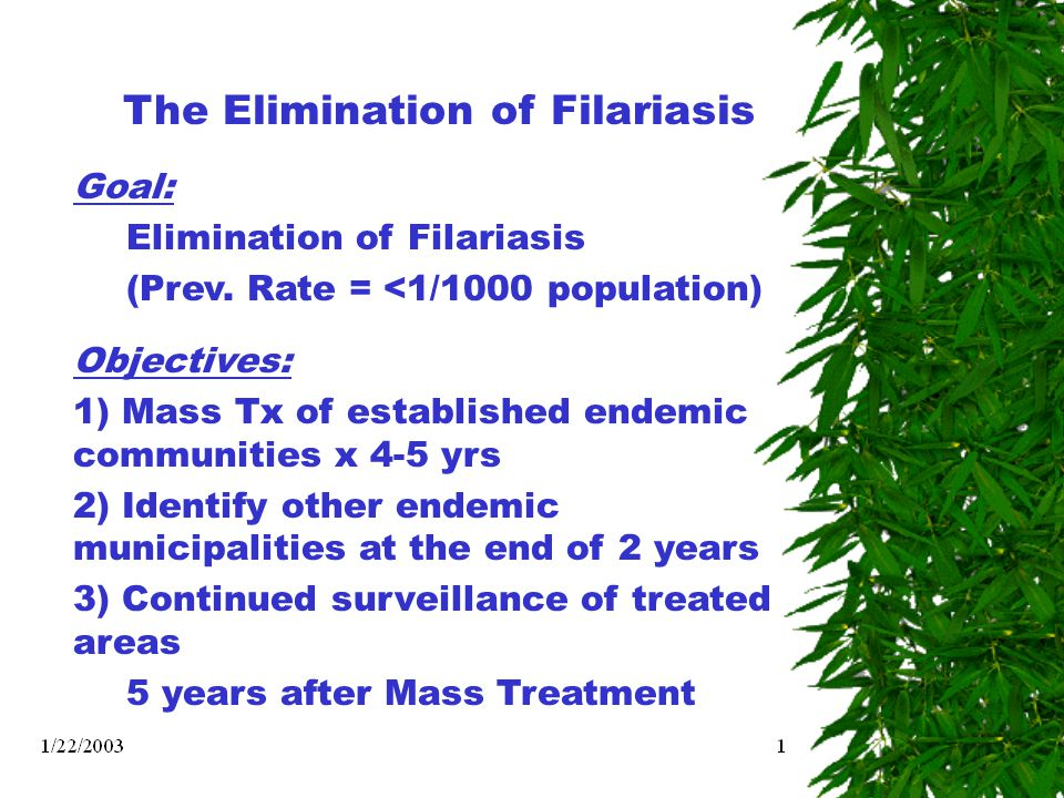 The Elimination of Filariasis