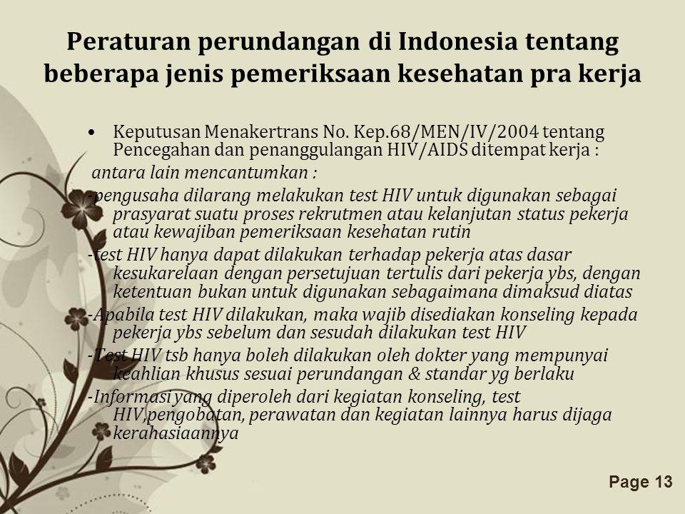 Peraturan perundangan di Indonesia tentang beberapa jenis pemeriksaan kesehatan pra kerja