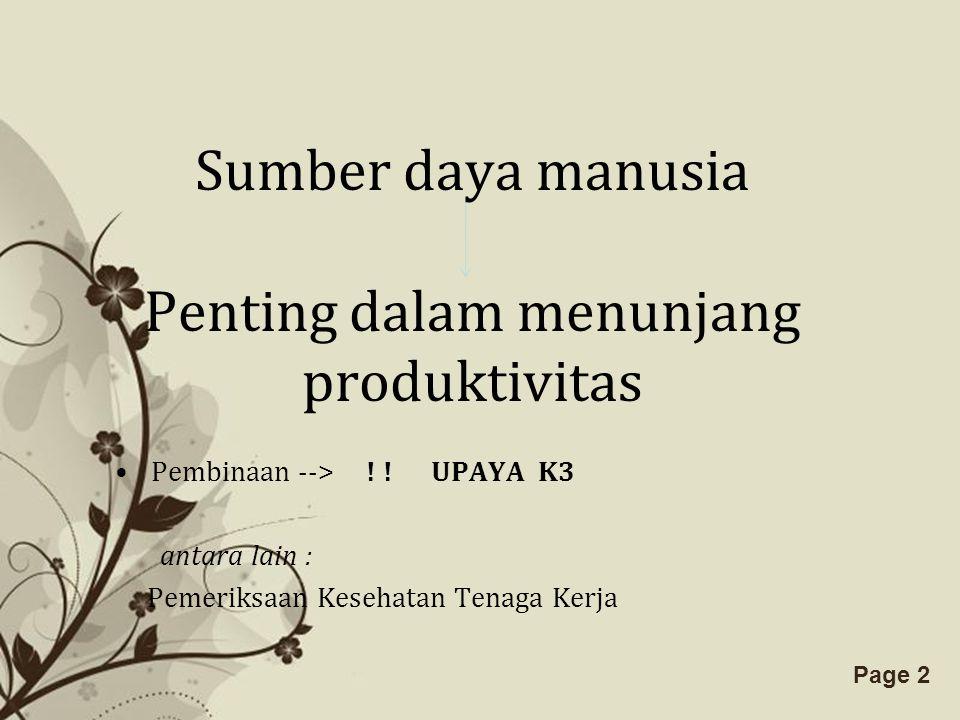 Sumber daya manusia Penting dalam menunjang produktivitas