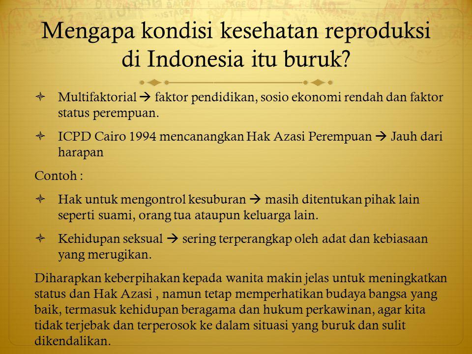 Mengapa kondisi kesehatan reproduksi di Indonesia itu buruk