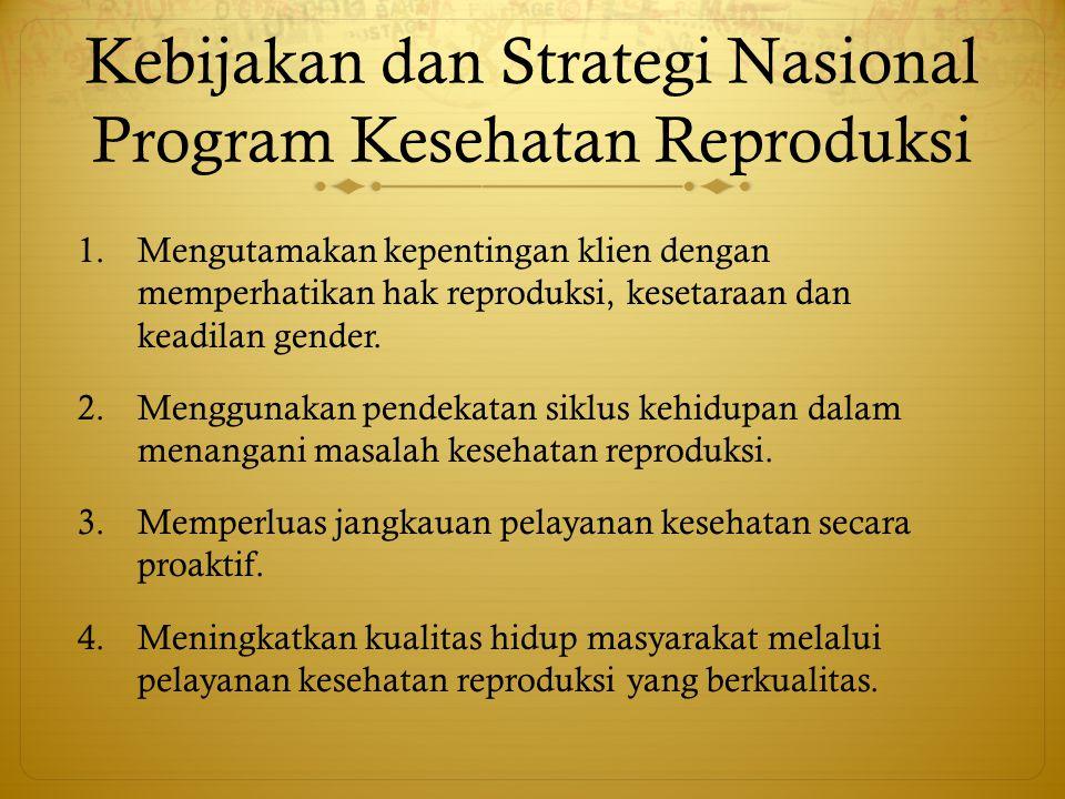 Kebijakan dan Strategi Nasional Program Kesehatan Reproduksi