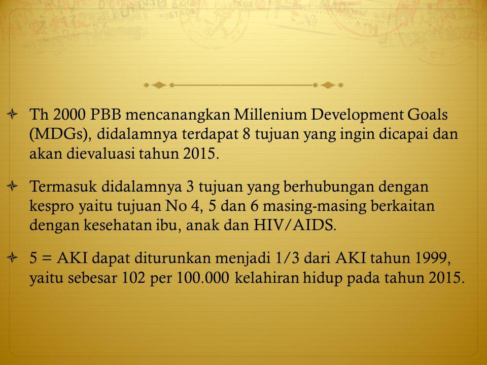 Th 2000 PBB mencanangkan Millenium Development Goals (MDGs), didalamnya terdapat 8 tujuan yang ingin dicapai dan akan dievaluasi tahun 2015.