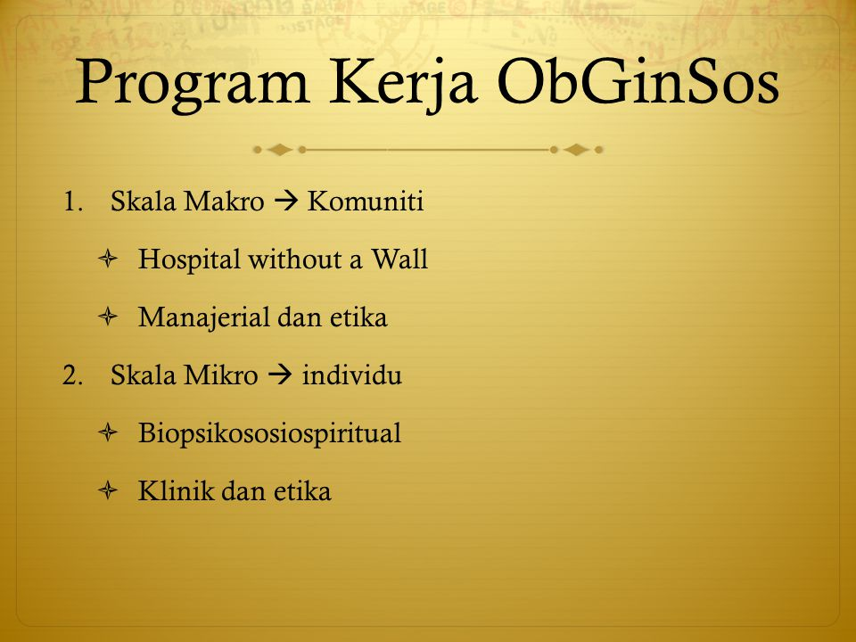 Program Kerja ObGinSos