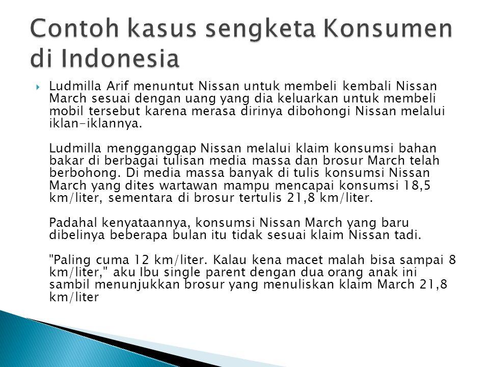 Contoh kasus sengketa Konsumen di Indonesia