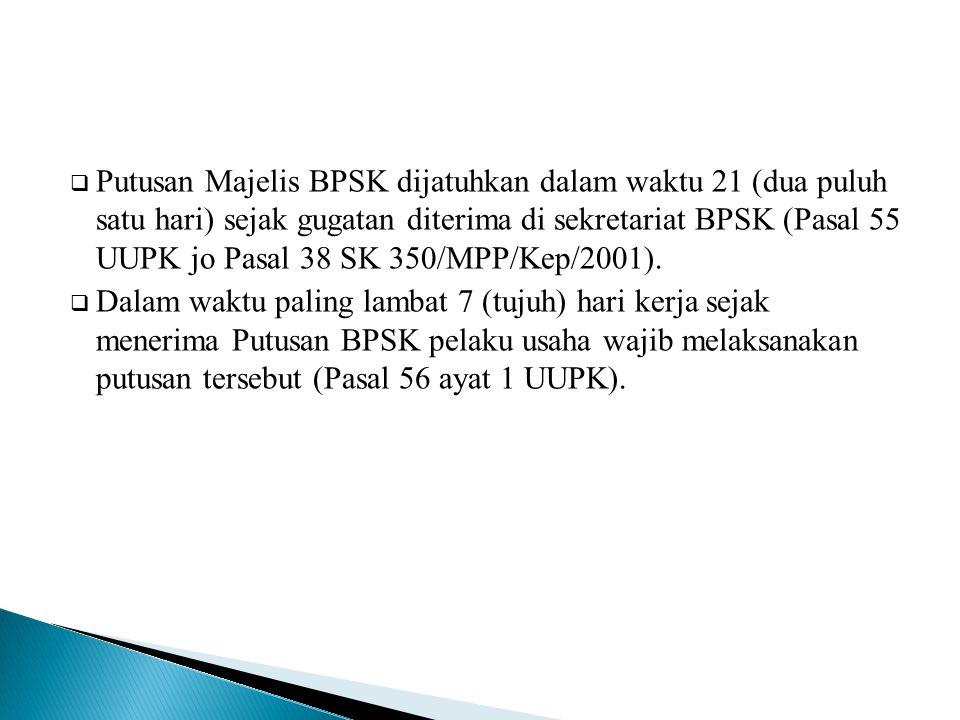 Putusan Majelis BPSK dijatuhkan dalam waktu 21 (dua puluh satu hari) sejak gugatan diterima di sekretariat BPSK (Pasal 55 UUPK jo Pasal 38 SK 350/MPP/Kep/2001).