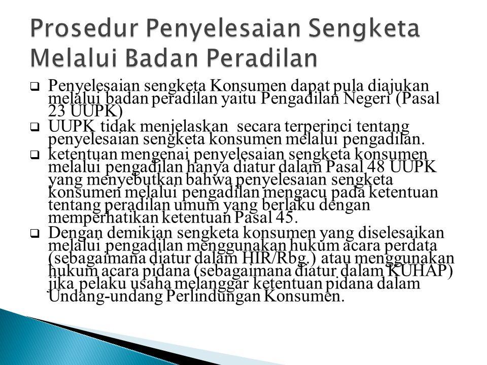 Prosedur Penyelesaian Sengketa Melalui Badan Peradilan