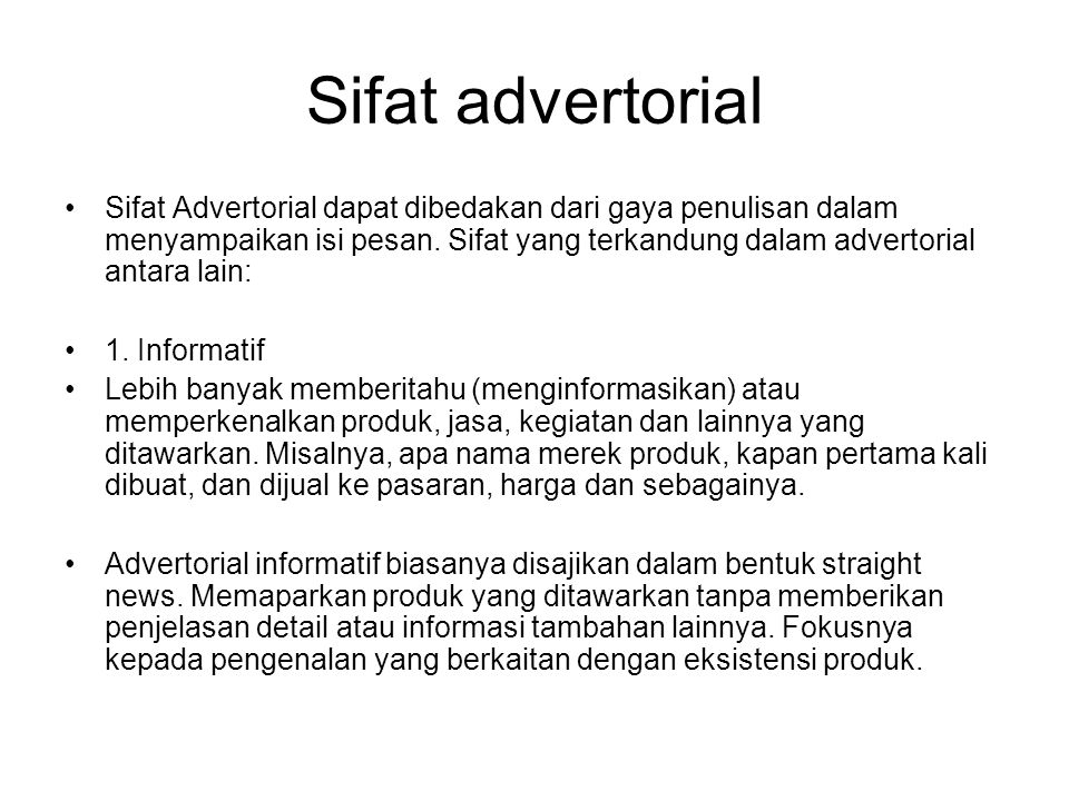 Sifat advertorial