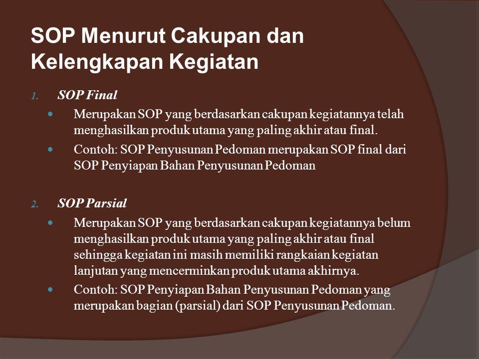 SOP Menurut Cakupan dan Kelengkapan Kegiatan