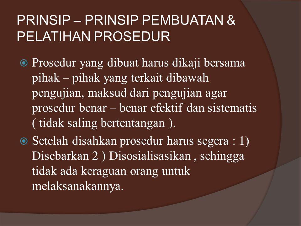 PRINSIP – PRINSIP PEMBUATAN & PELATIHAN PROSEDUR