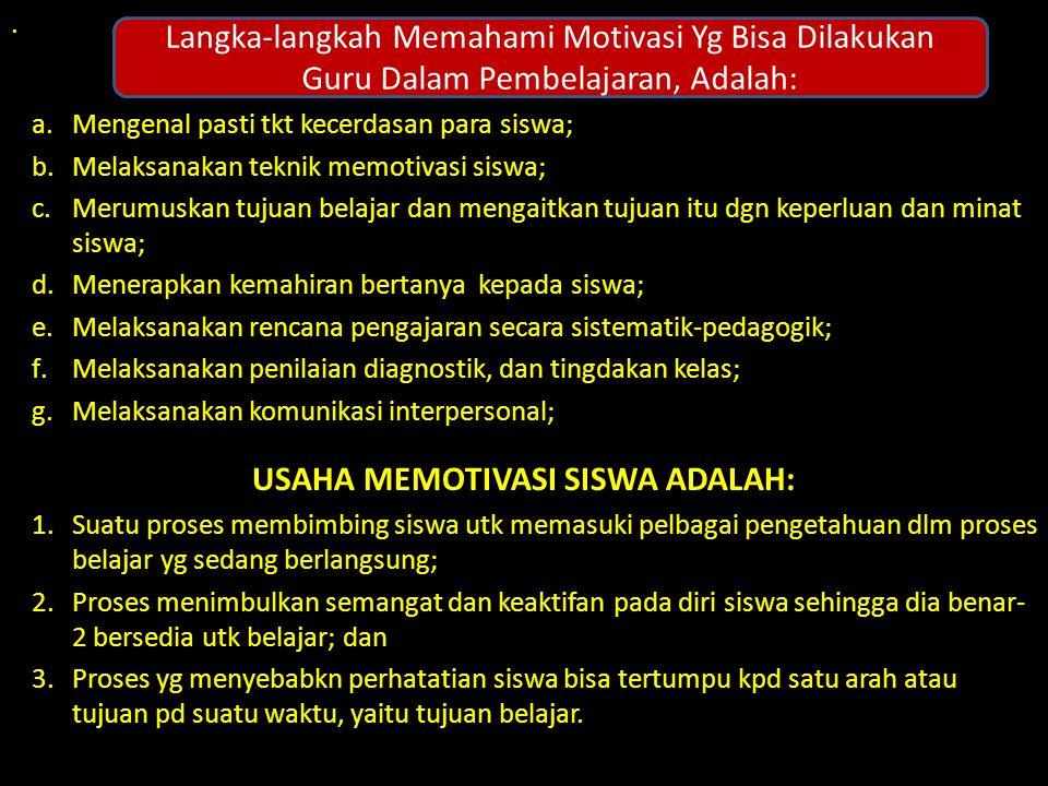 USAHA MEMOTIVASI SISWA ADALAH: